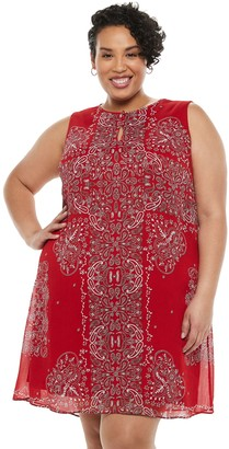 Chaps Plus Size Print Trapeze Shift Dress