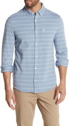 Original Penguin Jacquard Knit Stripe Print Slim Fit Shirt