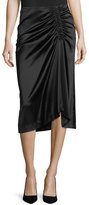 Theory Stretch-Satin Ruched Midi Skirt