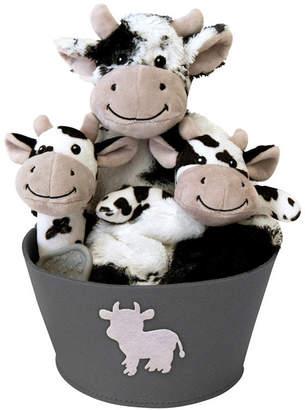 Trend Lab Cow 4-Piece Plush Baby Gift Set Bucket Bedding