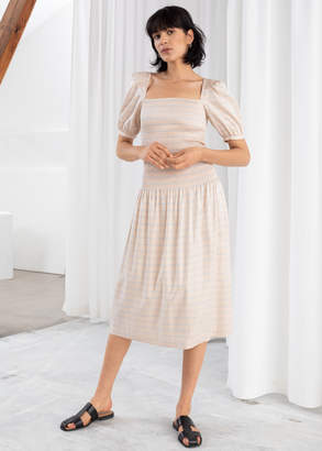 And other stories Stripe Smocked Midi Skirt