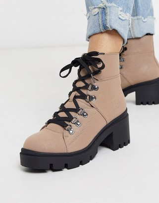 Call it SPRING padi chunky military boots in beige