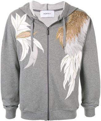 Ports V Applique Embroidered Melange Hoodie