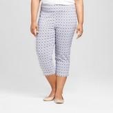 Zac & Rachel Women's Plus Medallion Print Cropped Pants Blue