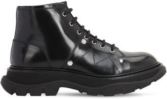 Alexander McQueen 40mm Tread Studded Leather Ankle Boots