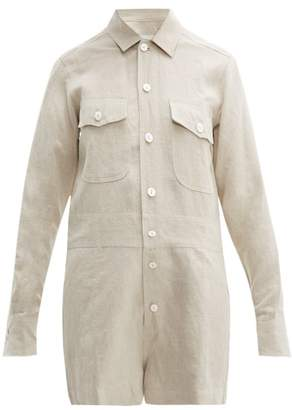 BEIGE White Story - Pip Button-down Linen Playsuit - Womens