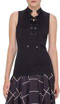 Akris Punto Tie-Front Sleeveless Top, Black
