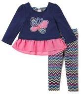 Nannette Girls Button Lace Long Sleeve Butterfly Shirt With Legging Set
