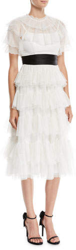 Needle & Thread Belted Scallop Tiered Ruffle Midi Dress