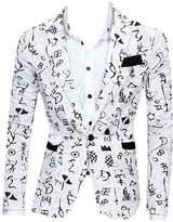 CFD Mens Casual Floral Print Open Front Blazer Jacket Coat L