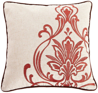 Calla Angel Red and Tan Embroidered Throw Pillow