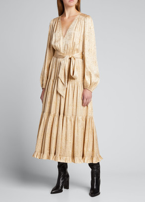 Ulla Johnson Helena Metallic Jacquard Tiered Dress
