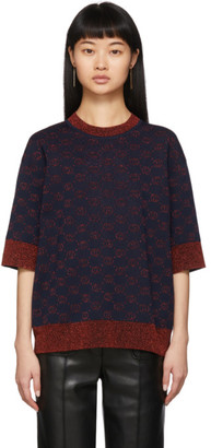 Gucci Navy Lurex Interlocking G Sweater