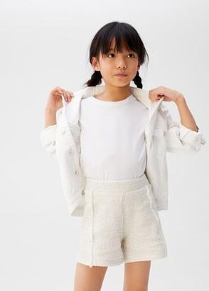 MANGO Metallic thread tweed shorts