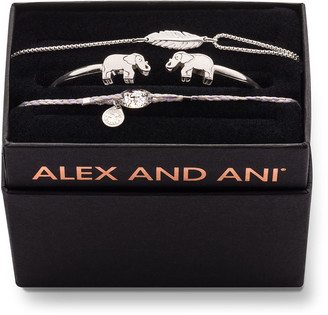 Alex and Ani Elephant Cuff Bracelet Gift Set, Silver