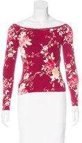 Blumarine Lace-Trimmed Floral Print Top