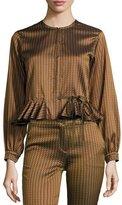 Etro Zigzag-Jacquard Godet-Edge Jacket, Gold