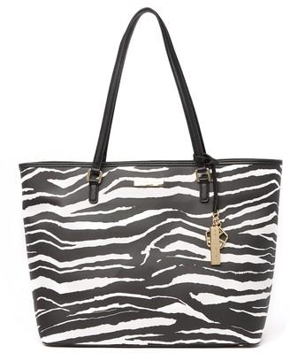 Trina Turk Zebra Stripe Center Zip Pocket Tote Bag