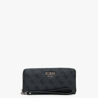 GUESS Vikky SLG Large Coal Repeat Logo Zip Around Wallet