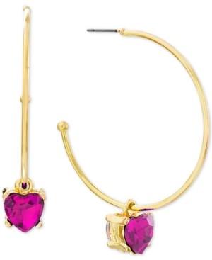 """Steve Madden Medium Gold-Tone Stone Heart Dangle Earrings 1-7/10"""""""