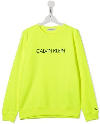 Calvin Klein Kids TEEN logo-print neon sweatshirt