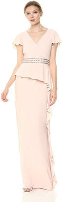 Adrianna Papell Women's Draped Jersey Dress with Cascading Ruffle On Skirt