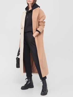 Missguided Spliced Midaxi Formal Coat - Camel
