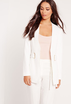 Missguided Oval D Ring Structured Blazer White