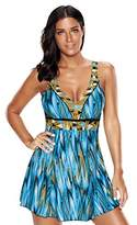 Morryoddy Women's Flower Tankini Swimsuit One Piece Skirtini Cover Up