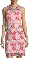 Donna Ricco Floral Mesh Lace Sleeveless Midi Dress