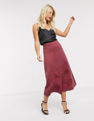 ASOS DESIGN embroidered full scuba midi skirt