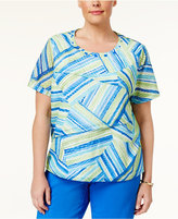 Alfred Dunner Plus Size Corsica Collection Tiered Scoop-Neck Top