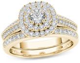 Zales 7/8 CT. T.W. Diamond Double Cushion Frame Multi-Row Vintage-Style Bridal Set in 14K Gold