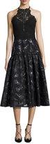 Rebecca Taylor Floral Jacquard Lace Midi Dress, Black Multicolor