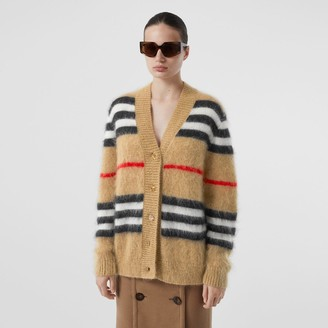 Burberry Icon Stripe Mohair Wool Blend Cardigan