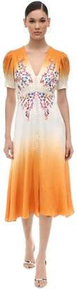 Saloni Lea Embroidered Silk Satin Midi Dress