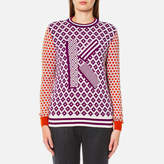 Kenzo Women's Crew Neck Comfort K Sweater Deep Fuchsia