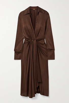 Dodo Bar Or Lorenne Pleated Draped Stretch-satin Jersey Wrap Dress - Chocolate