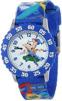 Disney Kids' W000373 Phineas Stainless Steel Time Teacher Bezel Printed Strap Watch