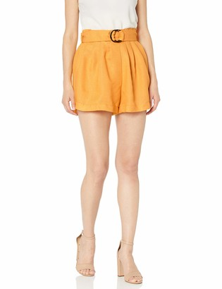 Moon River Women's High Waisted Paperbag Pleated Shorts with Belt