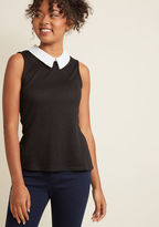 Declare and Contrast Sweater in Noir in 3X - Sleeveless Pullover Waist by ModCloth