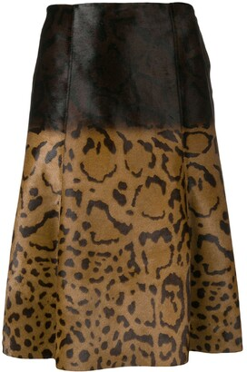 Salvatore Ferragamo Animal Print Midi Skirt