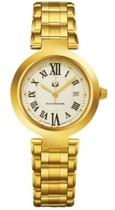 Stuhrling Original Alexander Watch A203B-03, Ladies Quartz Date Watch with Yellow Gold Tone Stainless Steel Case on Yellow Gold Tone Stainless Steel Bracelet