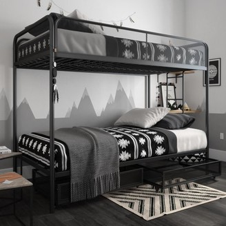DHP Jaxon Twin/Twin Bunk Bed with Storage, Black Metal