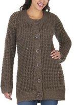 Mossimo Black: Tuck Stitch Sweater Jacket - Brown Heather/ Gold Lurex