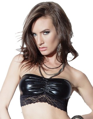 Coquette Women's Darque Wet Look Tube Top with Lace Trim