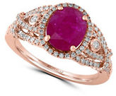 Effy Mozambique Ruby 14K Rose Gold Ring with 0.54 TCW Diamonds