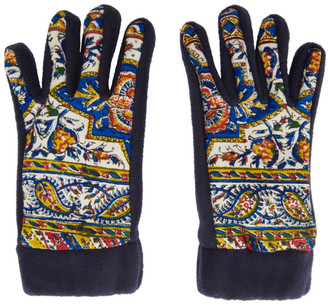paria /FARZANEH Navy Fleece Iranian Print Gloves