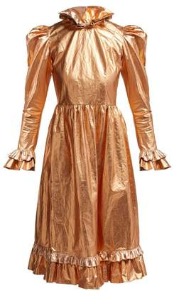 Batsheva Ruffled Coated-cotton Prairie Midi Dress - Womens - Gold