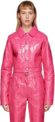 Saks Potts Pink Croc Faux-Leather Cowboy Jacket